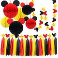 Mickey Mouse Party Decoration Kit, Colorful Mickey Paper Honeycomb Balls, Red Yellow and Black Tassel Garland Tissue Felt Banner Kids Birthday Themed Party Ideas Classroom Decoration