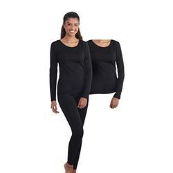 Outland Women's Thermal Set Extra Shirt, Lightweight Ultra Soft Fleece Shirt Tights (XLarge, Black - Combo)