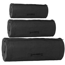 "Heavy Duty Cotton Canvas SIDE ZIPPER Duffle Bag with Pin - Black, Giant - 50"" x 19"" x 19"""