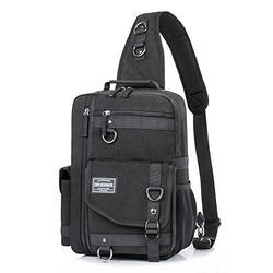 H HIKKER-LINK Canvas Messenger Bag Retro Sling Backpack Crossbody Satchel Black c