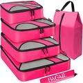 BAGAIL 6 Set Packing Cubes,Travel Luggage Packing Organizers with Laundry Bag(Fuchsia)
