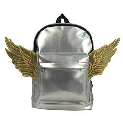 Kids Backpack Fashion Woman Mini Backpacks Kindergarten Toddler Daypack Lady Purse With Angel Wings Metallic Silver