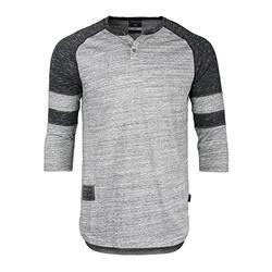 ZIMEGO Men's 3/4 Sleeve Baseball Football College Raglan Henley Athletic TShirt, Grey Black, XLarge,Grey Black,XLarge