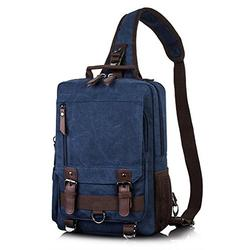 H HIKKER-LINK Canvas Messenger Bag Crossbody Shoulder Backpack Sling Bag Rucksack Daypack Casual Travel School Dark Blue Large