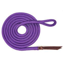 """Knotty Girlz Premium 9/16"""" Double Braid Polyester Yacht Rope Horse Lead Rope with Eye Spliced Loop (Purple, 14ft.)"""