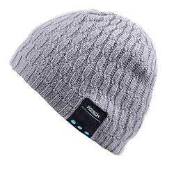 Mydeal Bluetooth Beanie Hat Slouchy Knit Skully Beanie Cap with Wireless Bluetooth Headphone Headset Earphone Music Audio Hands-free Phone Call for Winter Sports Fitness Gym Exercise Workout - Gray