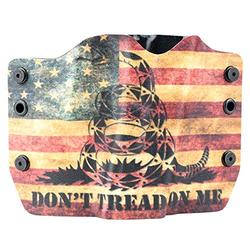 Don't Tread On Me Tan Snake Flag OWB Holster (Left-Hand, Fits Glock 17,19,22,23,25,26,27,28,31,32,34,35,41)