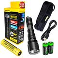 Nitecore MH25GT CREE LED 1000 Lumen USB Rechargeable Flashlight, 18650 rechargeable Li-ion battery, USB charging cable and Holster with 2 X EdisonBright CR123A lithium Batteries