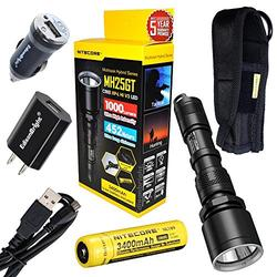 Nitecore MH25GT CREE XP-L HI V3 LED 1000 Lumen USB Rechargeable Flashlight, 18650 rechargeable Li-ion battery, USB charging cable and Holster with EdisonBright brand USb AC & Car chargers