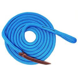 """Knotty Girlz Premium 9/16"""" Double Braid Polyester Yacht Rope Horse Lead Rope for Natural Horsemanship with Eye Spliced Loop 12ft. or 14ft. Lengths (Blue, 14 ft. with Hitched in NP Trigger Bull Snap)"""