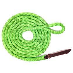 """Knotty Girlz Premium 9/16"""" Double Braid Polyester Yacht Rope Horse Lead Rope Natural Horsemanship w/Loop or Snap 12ft. or 14ft. Lengths (Neon Green, 12ft. with Hitched in NP Trigger Bull Snap)"""