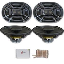 Polk Audio db Series 6x9 3-Way Car Audio Boat Motorcycle Marine UTV Audio Coaxial Speakers (2 Pairs) with DiscountCentralOnline 25ft Speakers Wire
