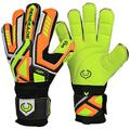 Renegade GK Fury Volt Goalie Gloves with Pro-Tek Fingersaves | 4mm Giga Grip & 4mm Duratek | Neon Yellow, Orange, Black Goal Keeper Gloves (Size 10, Adult, Mens, Flat Gecko Cut, Level 4)
