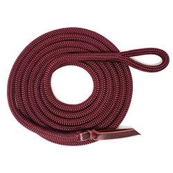 """Knotty Girlz Premium 9/16"""" Double Braid Polyester Yacht Rope Horse Lead Rope Natural Horsemanship w/Loop or Snap 12ft. or 14ft. Lengths (Burgundy, 12 ft. w/Hitched in Stainless Steel Trigger Bull)"""