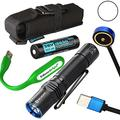 EdisonBright Olight M2R Warrior USB Rechargeable 1500 Lumen CREE LED Flashlight EDC with 18650 Rechargeable Battery, Magnetic Charging Cable USB Powered Reading Light Bundle (Cool White)