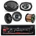 """JVC KD-R370 CD/MP3 AM/FM Radio Player Car Receiver Bundle Combo with 2X DR1720 300-Watt 6.75"""" Vehicle Coaxial Speakers + 2X DR693 6x9 Inch 1100W 4-Way Audio Speakers + Enrock 50Ft 16-Gauge Wire"""