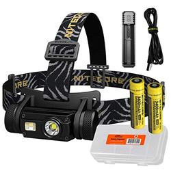 Nitecore HC65 1000 Lumen Triple Light Source Micro-USB Rechargeable Headlamp Plus 1x 3400mAh Rechargeable Battery, USB Battery Charger and Lumen Tactical Battery Organizer