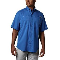 Columbia Men's PFG Tamiami II Short Sleeve Shirt, Moisture Wicking, Sun Protection,Vivid Blue,Medium