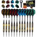 IgnatGames Steel Tip Darts Set - Professional Darts with Aluminum Shafts, Rubber O'Rings, and Extra Flights + Dart Sharpener + Innovative Case + Darts Guide (Mega Blast 12 Pack)