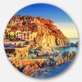 Designart MT12367-C23 Manarola Village View At Sunset Beach Round Metal Wall Art- Disc of 23,Red/Blue,23 X 23