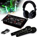 Casque DJ Sono + table de mixage DJ21-USB-MKII IBIZA Sound + 2 Micros Dynamiques Noir