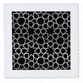 3D Rose Silver Stars Outline Geometric Intricate Islamic Art Pattern On Black Filigree Laser Cut Effect Square Quilt, 25 x 25