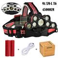 Waterproof Fishing LED Headlamp,ZIYUO 45000 LM Zoomable LED Headlamp Rechargeable,9x XM-L T6 LED,Travel Adjustable LED Headlamp Headlight Torch for camping hiking fishing