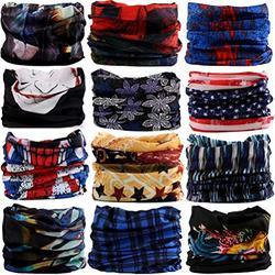 DEMIL 6PCS/8PCS/12PCS Seamless Headband camo Bandanas Headwear for Men&Women Neck Warmer Scarf 16-in-1 Multifunctional for Neck Gaiter (12pcs-5Feather)