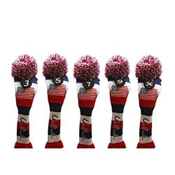 USA Majek Golf 3 5 7 9 X Fairway Woods Headcovers Pom Pom Knit Limited Edition Vintage Classic Traditional Flag Stars Red White Blue Stripes Retro Head Cover Fits 260cc Woods