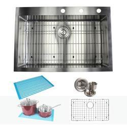 "eModern Decor Ariel 33"" L x 22"" W Drop-In Kitchen Sink w/ Bonus AccessoriesStainless Steel in Gray, Size 10.0 H x 33.0 W x 22.0 D in | Wayfair"