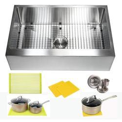 "eModern Decor CozyBlock 33"" L x 21"" W Farmhouse/Apron Kitchen Sink w/ Accessories Stainless Steel in Gray | Wayfair ARL-HFS3321R"