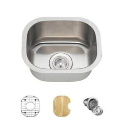 """MR Direct Stainless Steel 15"""" x 13"""" Undermount Bar Sink w/ Additional Accessories, Stainless Steel in Brushed Stainless Steel/Stainless Steel"""