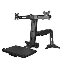 """StarTech.com Sit Stand Dual Monitor Arm - Desk Mount Dual Computer Monitor Adjustable Standing Workstation for up to 24"""" Displays - VESA Ergonomic Stand Up Desk Converter w/Keyboard Tray (ARMSTSCP2)"""