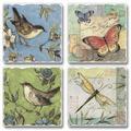 August Grove® Nature Walk Birds, Butterflies & Dragonflies CoasterStoneware in Blue/Brown/Green, Size 0.5 H x 4.0 D in | Wayfair AGTG2551 42412883