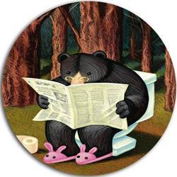 Design Art 'Bear in the Woods' Graphic Art Print on MetalMetal in Black/Brown, Size 23.0 H x 23.0 W x 1.0 D in | Wayfair MT9005-C23