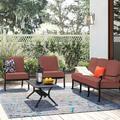 Astoria Grand Mccraney 4 Piece Sofa Set w/ Cushions Metal in Brown, Size 36.5 H x 72.0 W x 32.0 D in   Wayfair ARGD3292 43078001
