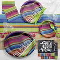 Creative Converting Serape Fiesta Deluxe Party Supplies Kit for 8 GuestsPaper/Plastic in Blue/Green/Pink   Wayfair DTC2568E2B