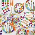 Creative Converting 81 Piece Art Party Birthday Paper/Plastic Tableware Set in Blue/Green/Pink | Wayfair DTC1765E2A