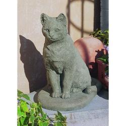 Campania International Garden Cat StatueStone in Red/Gray, Size 16.0 H x 10.0 W x 15.0 D in   Wayfair A-228-FN