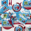 Creative Converting 81 Piece All Aboard Birthday Paper/Plastic Tableware Set in Blue/Red | Wayfair DTC2575E2A