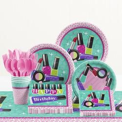 Creative Converting 81 Piece Sparkle Spa Party Birthday Paper/Plastic Tableware Set Paper/Plastic in Black/Blue/Pink   Wayfair DTC1767E2A