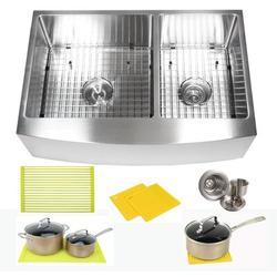 "eModern Decor Ariel 33"" L x 21"" W Double Basin Farmhouse/Apron Kitchen Sink w/ AccessoriesStainless Steel in Gray, Size 10.0 H x 33.0 W x 21.0 D in"
