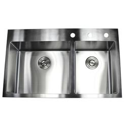 """eModern Decor Ariel 33"""" L x 22"""" W Double Basin Drop-In Kitchen Sink w/ Bonus AccessoriesStainless Steel in Gray, Size 10.0 H x 33.0 W x 22.0 D in"""