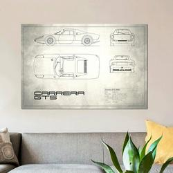 East Urban Home Porsche (904) Carrera GTS (Vintage Silver) by Mark Rogan - Wrapped Canvas Print Metal in Brown, Size 26.0 H x 40.0 W x 0.75 D in