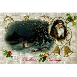 'Christmas Greetings' Buyenlarge Graphic Art in Blue/Brown, Size 44.0 H x 66.0 W x 1.5 D in | Wayfair 0-587-22986-1C4466