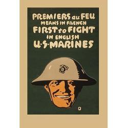 Permiers au feu by Buyenlarge - Advertisement Print in Black/Brown, Size 30.0 H x 1.5 D in   Wayfair 0-587-20499-0C2030