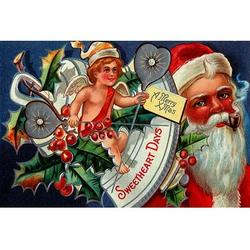 'Sweetheart Days - A Merry Xmas' Buyenlarge Graphic Art in Brown/Green/Red, Size 20.0 H x 30.0 W x 1.5 D in   Wayfair 0-587-22988-8C2030