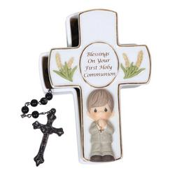 """Precious Moments Blessings On Your First Holy Communion Covered Box w/ Rosary, Ceramic in White, Size 4""""H X 3""""W X 1""""D 