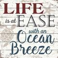 Highland Dunes Life Is at Ease by Julie Miller - Textual Art Print on Wood Wood in Brown/White, Size 10.5 H x 10.5 W x 1.0 D in | Wayfair