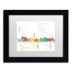 Trademark Fine Art 'Las Vegas Nevada Skyline' Matted Framed Graphic ArtCanvas & Fabric in Brown, Size 11.0 H x 14.0 W x 0.5 D in   Wayfair